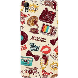 Casotec Vintage Print Design Hard Back Case Cover for HTC Desire 728G