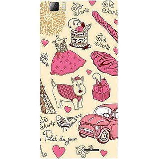 Casotec Paris Pattern Design Hard Back Case Cover for Lenovo K900