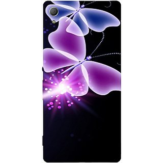 Casotec Neon Butterfly Light Abstract Shine Design Hard Back Case Cover for Sony Xperia Z3 Plus / Z4