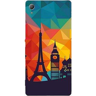 Casotec Colored Paris Design Hard Back Case Cover for Sony Xperia Z3 Plus / Z4