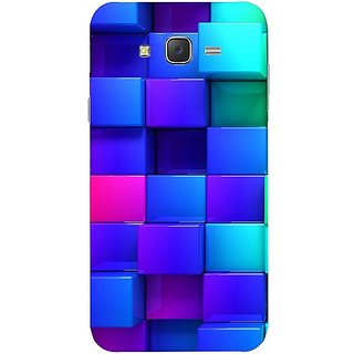 Casotec Blocks Rainbow 3D Graphics Design Hard Back Case Cover for Samsung Galaxy J7