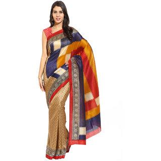 Yehii Printed Beige  Dark Blue Bhagalpuri Silk Saree