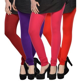 Rummy Cotton Lycra Leggings (Pack of 4) CL4MULTI0029