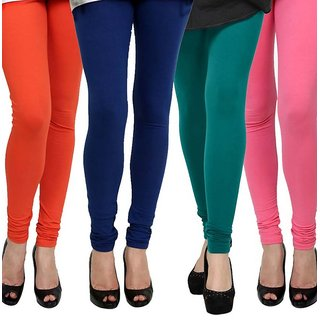 Rummy Cotton Lycra Leggings (Pack of 4) CL4MULTI0190