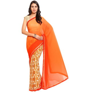 Yehii Printed Orange  Beige Georgette Saree