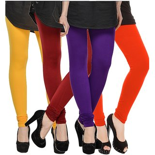 Rummy Cotton Lycra Leggings (Pack of 4) CL4MULTI0345