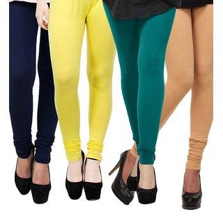 Rummy Cotton Lycra Leggings (Pack of 4) CL4MULTI0201