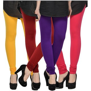 Rummy Cotton Lycra Leggings (Pack of 4) CL4MULTI0431