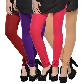 Rummy Cotton Lycra Leggings (Pack of 4) CL4MULTI0308