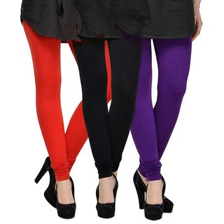 Rummy Cotton Lycra Leggings (Pack of 3) CL3MULTI0077