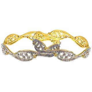 Modern Style Kundan Work Beautiful American Diamond Bangle Set (DP-1019)