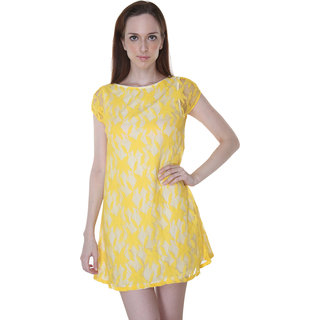 Yellow Lace Knee Length Dress