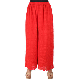 Ayesha Creations Red Womens Palazzo-ACGTCKAF-Red