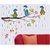 Asmi Collections PVC Wall Stickers Birds with Umbrella in Rain on Tree Branches