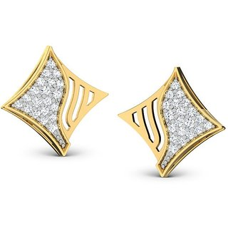 SHEETAL IMPEX 0.60 TCW Real Natural Diamond Studded 14K Yellow Gold Earring
