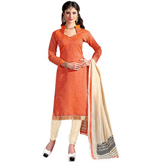 Lovely Look Orange Embroidered Un-stitched Straight Suit LLK2MNT1507 LLK2MNT1507