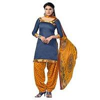 Lovely Look Blue Printed Un Stitched Patiyala Suit LLKSUP1002 LLKSUP1002