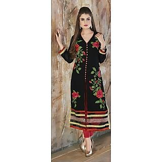Buy Designer Ladies Kurti, Black Colored Red Flower Embroidered