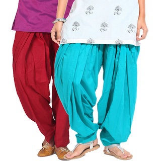 Brandtrendz Set Of 2 Cotton Patiyala Salwar (SsalwarMrnnSkyblue)