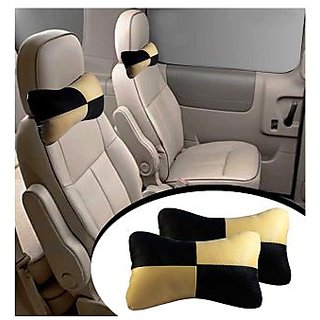 TAKECARE   Designer Car Seat Neck Cushion Pillow - Black and Beige Colour FOR  TOYOTA ETIOS