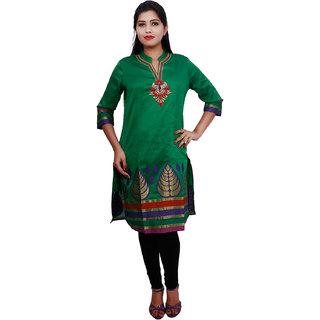 Thraya Womens Art Silk Jecquard Fashion Kurtas