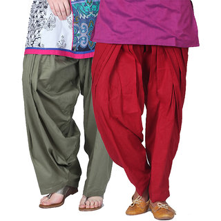 Brandtrendz Set Of 2 Cotton Patiyala Salwar (SsalwarGreyMaroon)