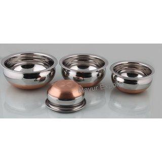 Buy Set Of 4 Stainless Steel Copper Bottom Handi 3500ml