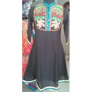 Marvelous Embroidered black Viscose Georgette/ chiffon designer Kurtis