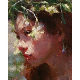 Vitalwalls Portrait Painting Canvas Art Print, Wooden Frame.Western-206-F-30cm
