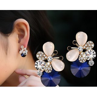 RIANZ New Elegant Gold Plated Butterfly shaped Blue Gemstone Stud Earrings