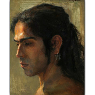 Vitalwalls Portrait Painting Canvas Art Print.Western-507-45cm