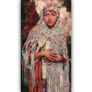 Vitalwalls Portrait Painting Canvas Art Print,on Wooden FrameWestern-414-F-45cm