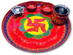 Decorative Painted Puja Thali