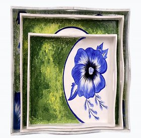 IRIS- HAND MADE EXCOTIC FLOWER TRAY SET (SET OF 3)