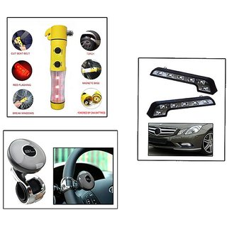 Takecare 5 In 1 Hammer, L-Shaped Led Light & Black Label Steering Knob-Silver For Hyundai Grand I-10