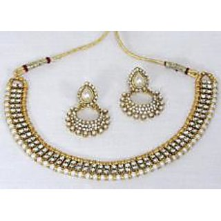 9c43ef5827569 Golden pearl Stone Polki Necklace set