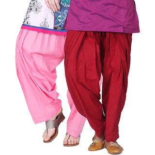Brandtrendz Set Of 2 Cotton Patiyala Salwar (SsalwarBabypinkMrnnn)