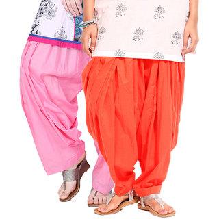 Brandtrendz Set Of 2 Cotton Patiyala Salwar (SsalwarBabypinkOrange)