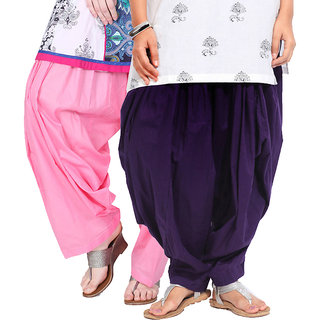 Brandtrendz Set Of 2 Cotton Patiyala Salwar (SsalwarBabypinkDpurpl)