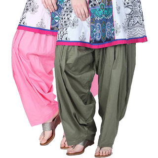 Brandtrendz Set Of 2 Cotton Patiyala Salwar (SsalwarBabypinkGrey)
