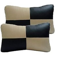 TAKECARE Car Seat Neck Cushion Pillow - Black And Beige Colour  FOR  CHEVROLET BEAT