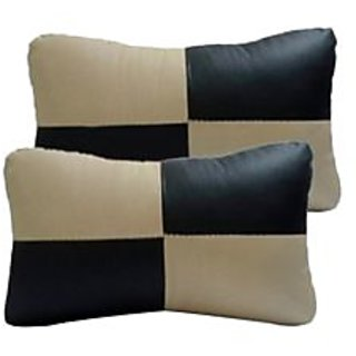 TAKECARE Car Seat Neck Cushion Pillow - Black And Beige Colour  FOR  TOYOTA ETIOS LIVA
