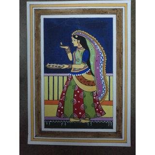 Madhubani Painting - Girl With Diyas