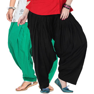 Brandtrendz Set Of 2 Cotton Patiyala Salwar (SsalwarGrnBlk)