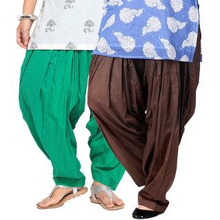 Brandtrendz Set Of 2 Cotton Patiyala Salwar (SsalwarGrnChoco)