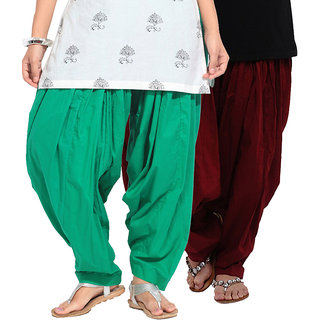Brandtrendz Set Of 2 Cotton Patiyala Salwar (SsalwarGrnMrn)
