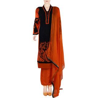 Orange Black Georgette Semi Stitched Pakistani Suit