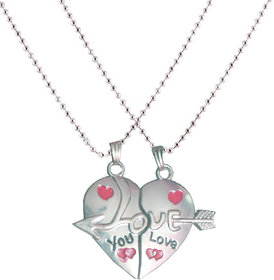 Men Style Silver   Couple Love You Heart   Pendent