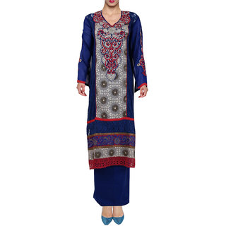 Olympian Blue Crme Net Georgette Semi Stitched Pakistani Suit