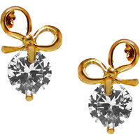 JEWELZ Jewelz Golden Bow Earring American Diamonds Earrings